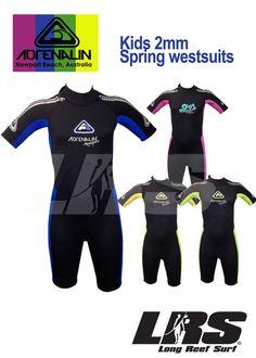 NEW Adrenalin Kids Springsuit Wetsuit Short Sleeve & Leg 2mm Childrens Wet Suit