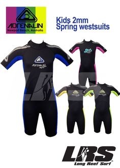 NEW Adrenalin Kids Springsuit Wetsuit Short Sleeve & Leg 2mm Childrens Wet Suit