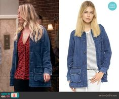 Penny's denim parka on The Big Bang Theory.  Outfit Details: https://wornontv.net/62285/ #TheBigBangTheory