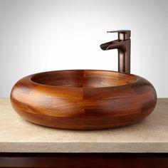 Bathroom Furniture - Kitchen Furniture - Bathroom Vanities in Oak, Teak and Mahogany Teak Bathroom, Vessel Sink Bathroom, Bathroom Furniture, Natural Bathroom, Wooden Bathtub, Wood Sink, Glass Vessel Sinks, Wood Turning, Woodworking
