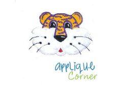 Tiger Face Boy Stripes Applique Design