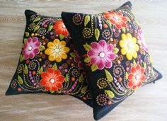 2 Black Embroidered pillow covers alpaca sheep wool Peru  15 in Handmade Find us at: https://www.etsy.com/shop/khuskuy