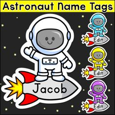 These fun astronaut name tags and labels will look fantastic in your space theme classroom! These would make great bin or basket labels job cards flash cards and of course name tags. Space Theme Classroom, Preschool Classroom, Classroom Decor, Classroom Name Tags, Kindergarten, Cubby Tags, Space Names, Basket Labels, Outer Space Theme