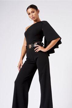 2a2b18a4f63a Black One Shoulder Cape Jumpsuit by Club L - Clothing