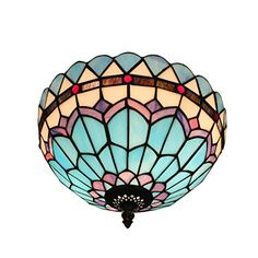 Gweat Tiffany 12 Inch European Pastoral Style Stained Glass Mediterranean Series Flush Mount Ceiling Light