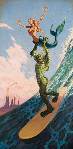 Made In Heaven by Damian Fulton Surf Monster Mermaid Canvas Art Print – moodswingsonthenet