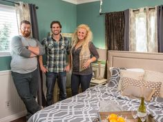 HGTV's Flipping the Block Season 1 -  Amanda and Curtis: Strike a Pose The happy couple pose with judge Scott McGillivray.