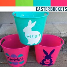 Personalized Easter Buckets are in. Available in pink, green, orange, and teal. Available for local pick up in aldergrove. Custom Decals, Vinyl Decals, Easter Buckets, Cricut, Teal, Orange, Green, Pink, Crafts