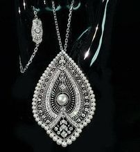 Antique Pearls Diamonds Pendant Necklace, French, ca. 1910