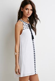 Embroidered Peasant Dress | Forever 21 White Halter Tunic Shift Dress