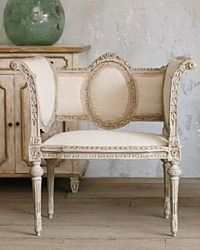 Pair Vintage Shabby French Style Louis XVI Banquettes-antique, grey, swedish,medallion,benches,furniture,