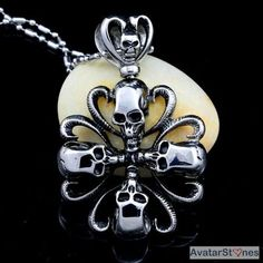 Men's Stainless Steel Skulls Cross Pendant Necklace Chain P3V21  - $74nok (12)