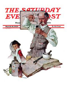 """Pharmacist"" Saturday Evening Post Cover, March 18,1939  Norman Rockwell"