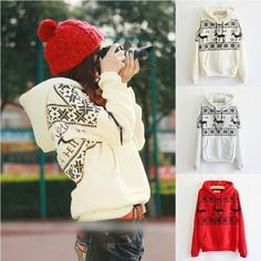 Fawn Hooded Fashion Long Sleeve Fleece Top Sweater Hoodie A 091110 - Thumbnail 4