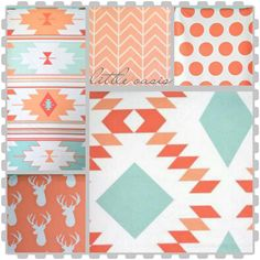 Tribal crib bedding set Coral and mint by LittleOasisNurseries, $45.00
