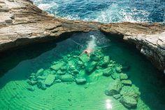 Le lagon Lagoon sur l'île de Thasos