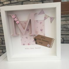 Personalised New Baby, Birth, Boy & Girl Letter Frames Gift Shabby Chic Baby Box Frame Ideas, Box Frame Ideas Diy Crafts, Box Frame Art, Baby Frame, Box Frames, Personalised Gifts Handmade, Handmade Baby Gifts, Diy Gifts, Scrabble Frame