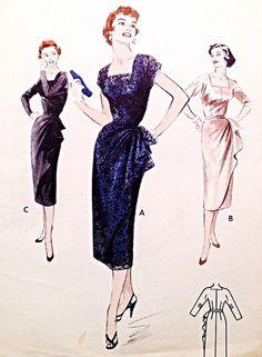 1950s Stunning Cocktail Evening Dress Pattern Butterick 6983 Flattering Elegant Side Drape Dinner Dress Square Neckline Bust 34 Vintage Sewing Pattern FACTORY FOLDED