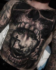 Tattoo by - Tattoo-Ideen - tattoos Dope Tattoos, Torso Tattoos, Creepy Tattoos, Bild Tattoos, Badass Tattoos, Skull Tattoos, Body Art Tattoos, Sleeve Tattoos, Tattoo Sketches