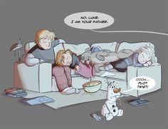 Elsa, Anna, Kristoff, Sven , & Olaf | Adorable ❤️ | Movie Night | Fan Art | Disney Crossover