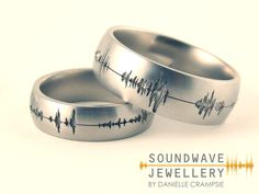 BZ-8F-L-SoundWave.BZ-5F-SoundWave-L Soundwave Design Personalized Sound Wave Jewelry His /& Her/'s Soundwave Ring