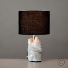 Decorative Squirrel Table Lamp in White with Black Shade