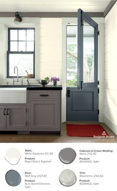 A simple red welcome mat on a kitchen floor brings instant personality to this country kitchen painted in White Opulence and Wolf Gray.
