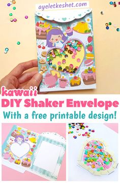 This cute DIY shaker card tutorial has a twist: it turns into an envelope or gift bag! Includes a free printable template with a kawaii design, for a perfect craft time. #Ayelet_Keshet #kawaii #shakercards #kidscrafts #freeprintables #printables #diycards