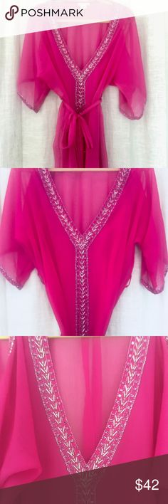 Fuschia tunic with beaded neckline Beautiful tunic by Arden B, can be worn as a beach coverup or out with a tank underneath and leggings. Perfect condition. Size small but would also fit a medium. Arden B Tops Tunics