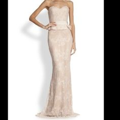 Notte by Marchesa dress Soft blush color, silk and lace peplum gown with a built in corset. It was worn once, it's like new and has never been altered. Size 4 Marchesa Dresses Strapless
