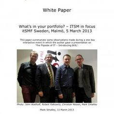 White Paper What's in your portfolio? – ITSM in focus itSMF Sweden, Malmö, 5 March 2013 This paper summarizes some observations made during a one day intera. http://slidehot.com/resources/write-up-itsmf-sweden-conference-mar-2013.49078/