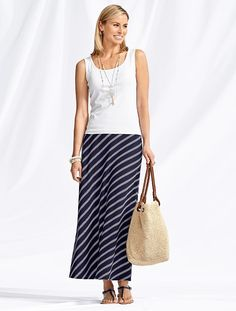 Talbots - Summer Stripe Maxi Skirt | |