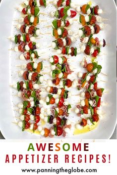 View dozens of scrumptious easy appetizer recipes - perfect for feeding a crowd. #AppetizerRecipes #SuperBowlFood Caprese Appetizer, Caprese Skewers, Caprese Salad, Kabobs, Great Appetizers, Easy Appetizer Recipes, Barbecue Recipes, Grilling Recipes, Barbecue Sauce