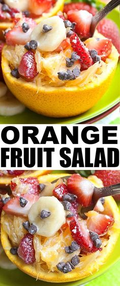 Quick and easy ORANGE FRUIT SALAD that  makes a healthy dessert or snack. This healthy fruit salad is packed with oranges, bananas, strawberries and yogurt. From cakewhiz.com