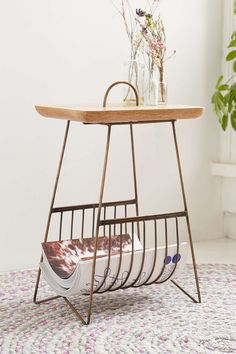 Plum & Bow Wire Side Table - Urban Outfitters - for Guest room or guest bath/towels Wire Side Table, Side Table With Storage, Side Tables, My Living Room, Home And Living, Living Area, Furniture For You, Home Furniture, Furniture Board