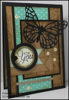 handmade greeting card using design sketch:MOJO#383 ... luv the woodgrain stamping on framing pieces ... die cut butterfly ... Stampin' Up!