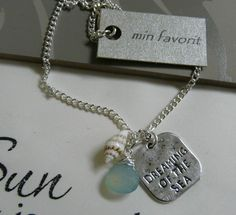 "Min Favorit ""Dreaming of the Sea"" Aqua Seafoam Chalcedony Shell Silver Necklace"