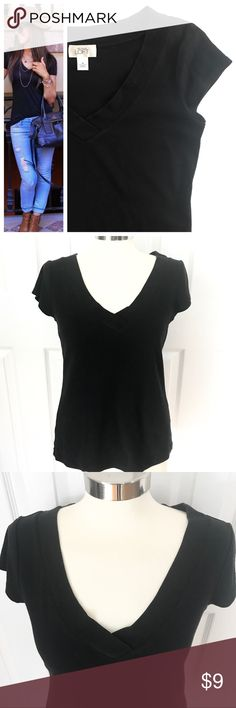 LOFT Black V-Neck Tee Shortsleeve black vneck tshirt. 100% cotton. LOFT size medium, fitted. First photo on left not actual item just showing for styling inspiration! LOFT Tops Tees - Short Sleeve