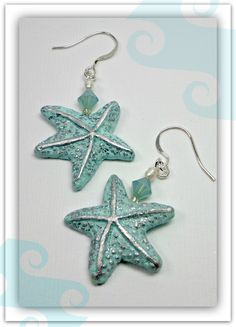 Starfish Mint Green Swarovski Crystal Earrings polymer clay by BeadazzleMe, $14.00