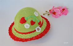 Crochet green summer hat with strawberries for by KaritellaHats
