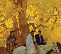 Ernest Martin Hennings, Passing by, oil on canvas laid down on aluminum, Museum Of Fine Arts, Art Museum, Kunsthistorisches Museum, Southwestern Art, Mexico Art, Le Far West, Traditional Paintings, Native American Art, American Artists