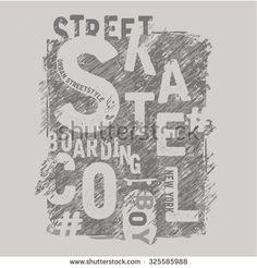 Skate board sport typography, t-shirt graphics, vectors