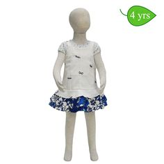 Mahalo -- White and blue cotton jumper that can be worn as a sundress or with an added T-shirt for cooler weather. This dress has a zippered back opening, a triple flounce skirted bottom, and a front pocket. (T-shirt not included). ($30)