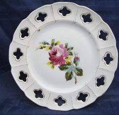 Vintage Ceramic Victoria Pottery Altrohlau Bohemia plate dish with rose floral Vintage Ceramic, Dining Room Table, Pottery Art, Decorative Plates, Victoria, Ceramics, Dishes, Rose, Tableware