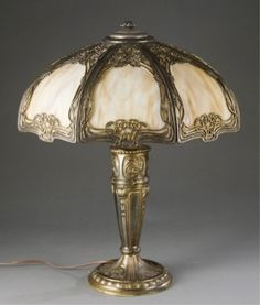 Delicieux Lot 203: Slag Glass Lamp. Estimate: $200 $300