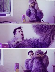 Brendon Urie as a purple llama in Young and Meace vid