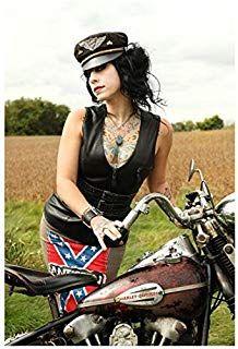 37c6e35a49498 Danielle Colby-Cushman 8 inch x 10 inch photo American Pickers Black  Leather Vest   Bike kn