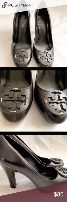 Tory Burch Brown Leather Round Toe Pumps - Sz 7.5 Brown leather Tory Burch round tie pumps with laser cut medallions.  Stacked heels about 4 in and slight platform about .5 in.  Shoes do show some wear on the toes, and heels.  Still in good condition.  Size 7.5. Tory Burch Shoes Heels