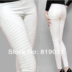 S,M,L,XL Blue/White//Black/Red New2014 Plus size Pocket Elastic Leggings Women's casual Pleated Trousers Pencil pants