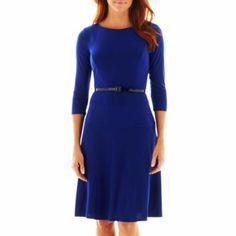 9&CO. Mid-Length Elbow Sleeve Belted Dress